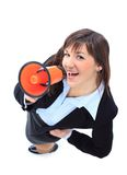 Business woman speak in megaphone Stock Images