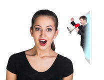 Business woman speak to the cell phone Royalty Free Stock Photo