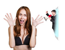 Business woman speak to the cell phone Royalty Free Stock Image