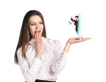 Business woman speak to the cell phone Stock Images