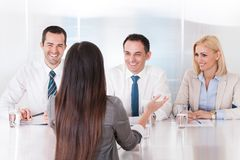Business woman speaking at interview Royalty Free Stock Photography