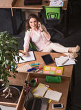 Business woman speaking over phone Stock Photos