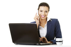Business woman speaking on phone Stock Images