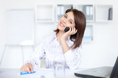 Business woman speaking on phone call Stock Images