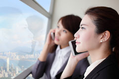 Business woman speaking phone Royalty Free Stock Images