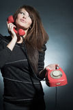 Business woman speaking on a  to phone. Stock Photo
