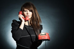 Business woman speaking on a  to phone. Royalty Free Stock Photography