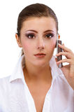 Business woman speaks on phone Stock Photo