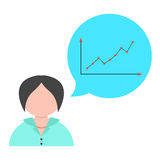 Business woman with speech bubble and graph Stock Photo