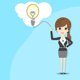 Business woman with speech bubble over her head Royalty Free Stock Images