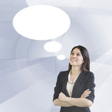 Business Woman With Speech Bubbles Royalty Free Stock Photography