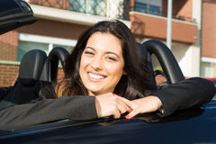 Business woman in sports car Royalty Free Stock Photography