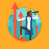 Business woman with spyglass on rising arrow. An african-american young business woman standing on the top of arrow and looking through spyglass. Concept of Stock Images