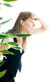 Business Woman Spying Royalty Free Stock Photography