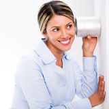 Business woman spying Stock Image