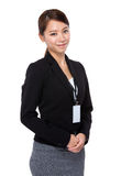 Business woman with staff card Stock Photos