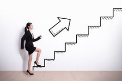 Business woman with stair Royalty Free Stock Photos