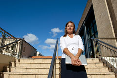 Business Woman on Stairs Outdoor Royalty Free Stock Photography