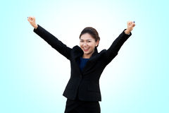 Business woman is stance celebrate in  background Stock Photos