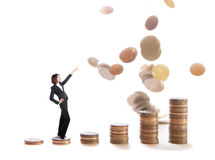 Business woman stand on money stairs Stock Photo