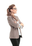 Business woman stand profile with white wall background Stock Photography
