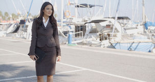 Business Woman Stand In Yacht Club Stock Photo