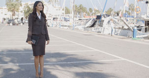 Business Woman Stand In Yacht Club Stock Photos