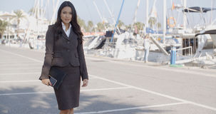 Business Woman Stand In Yacht Club Stock Images