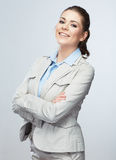 Business woman standing against isolated gray back Stock Photo
