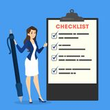 Business woman standing at the big clipboard stock illustration