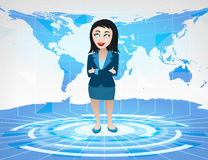 Business woman standing in blue virtual studio with world map Stock Photo