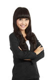 Business woman standing with folded hand Stock Photo