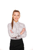 Business woman standing with folded hands Royalty Free Stock Images