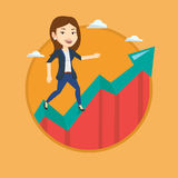 Business woman standing on growth graph. Stock Photo