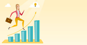 Business woman standing on growth graph. Royalty Free Stock Photo