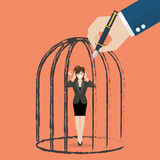 Business woman standing in a hand drawn cage Royalty Free Stock Photography