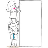 Business woman standing on her colleagues hands ho Stock Images