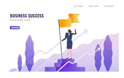 Business woman standing and holding flag on the podium. Business Successful and  Leadership  concept. vector illustration Stock Photo
