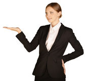 Business woman standing holding up his right hand. White background Stock Photos
