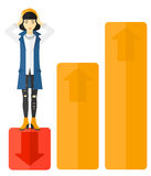 Business woman standing on low graph. Stock Photo