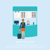 Business woman standing at Money Exchange Service Counter. stock illustration