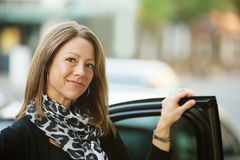 Business Woman Standing Near Car Stock Photo