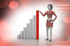 Business woman standing near the financial graph. In attractive bacground Royalty Free Stock Photo