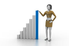Business woman standing near the financial graph. Isolated on white Royalty Free Stock Images