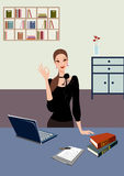 Business woman standing in office with laptop Royalty Free Stock Photo