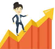Business woman standing on profit chart. Royalty Free Stock Photography