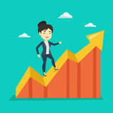 Business woman standing on profit chart. Royalty Free Stock Photos