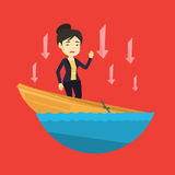 Business woman standing in sinking boat. Stock Images