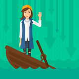 Business woman standing in sinking boat. Royalty Free Stock Image