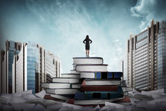 Business woman standing on the top of books Royalty Free Stock Photo